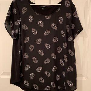 Torrid black skull blouse